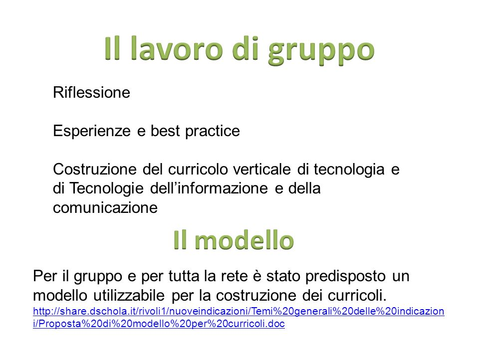 Il lavoro di gruppo Il modello Riflessione Esperienze e best practice