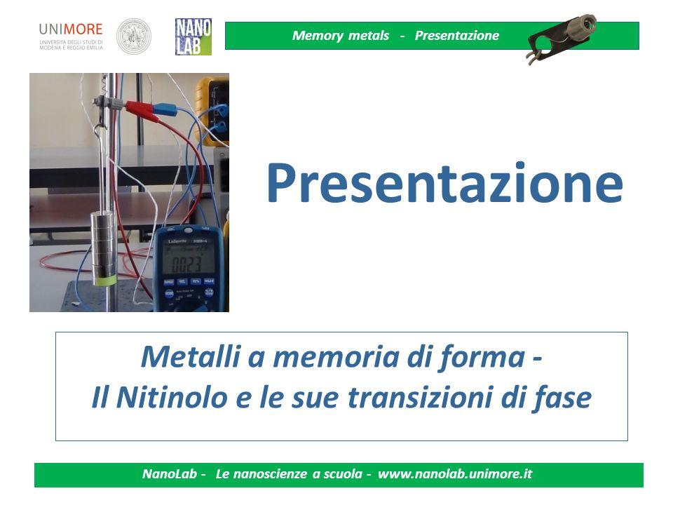 Metalli a memoria di forma - Il Nitinolo e le sue transizioni di fase