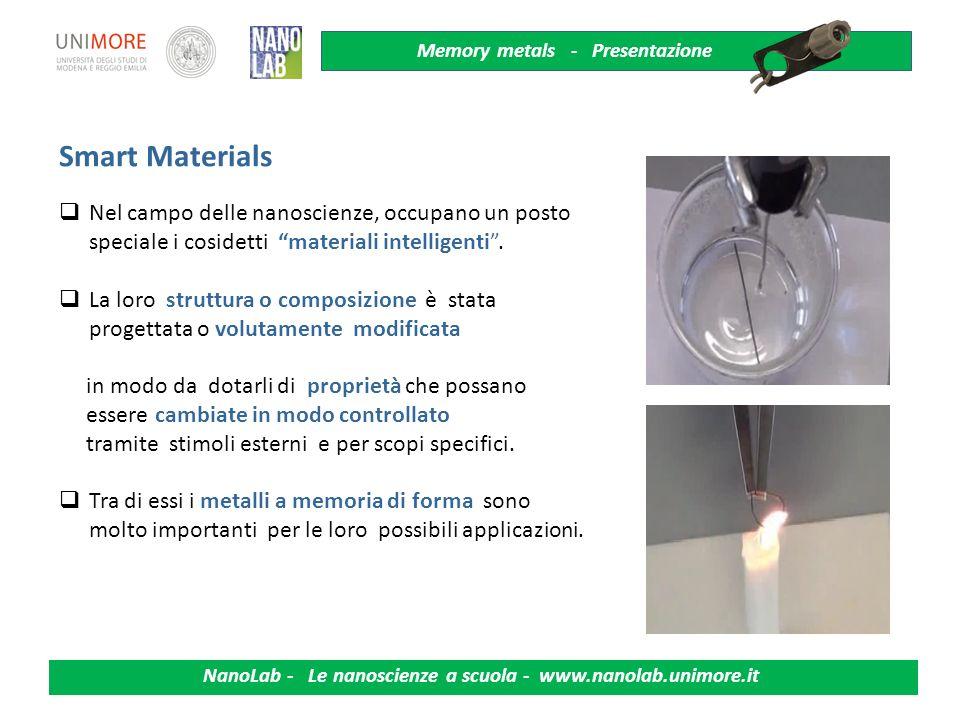 Smart Materials Nel campo delle nanoscienze, occupano un posto speciale i cosidetti materiali intelligenti .