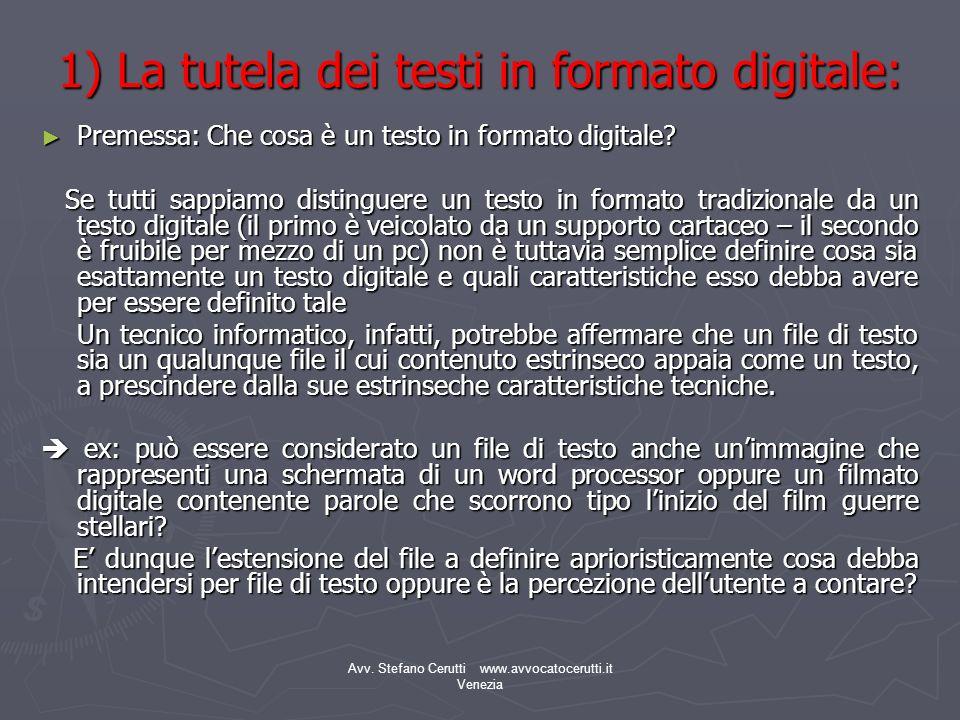 1) La tutela dei testi in formato digitale: