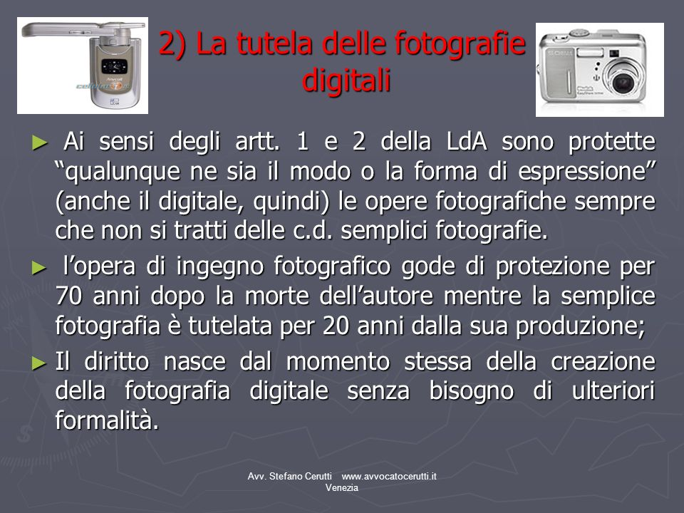 2) La tutela delle fotografie digitali