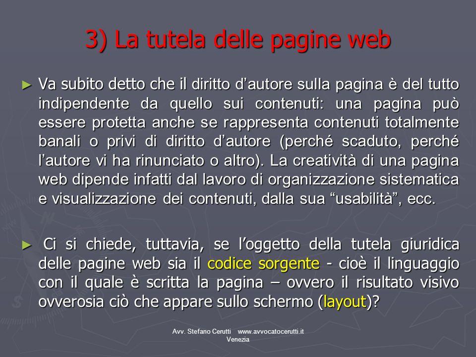 3) La tutela delle pagine web