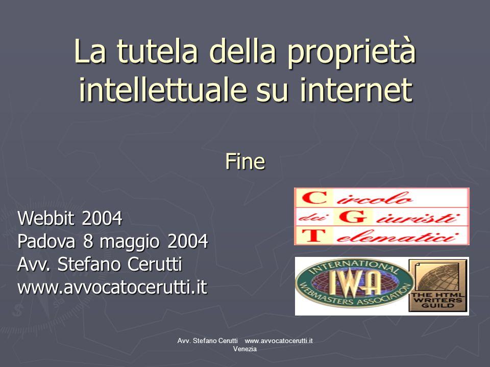 La tutela della proprietà intellettuale su internet Fine