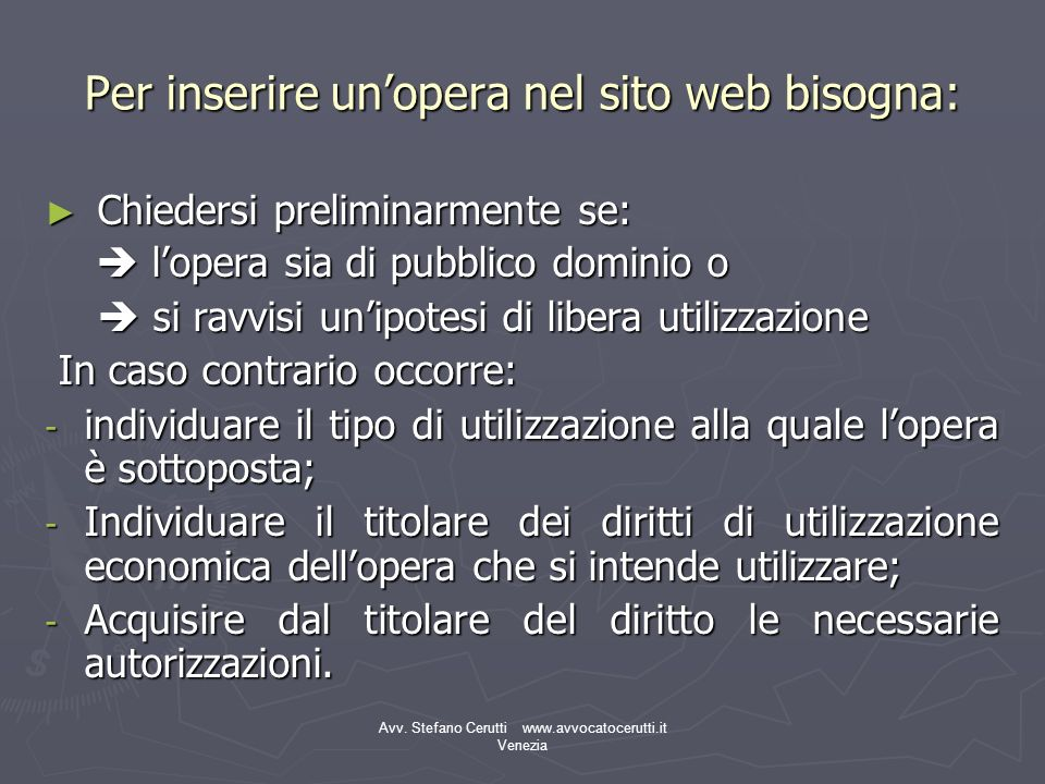 Per inserire un'opera nel sito web bisogna:
