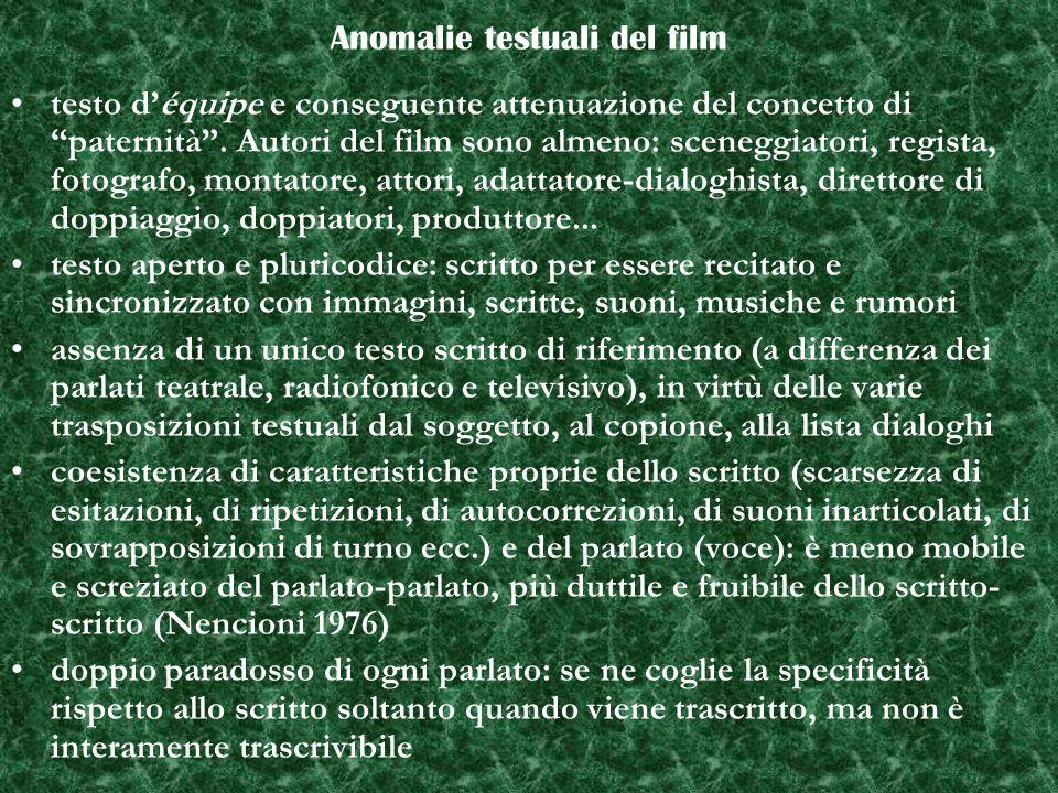 Anomalie testuali del film