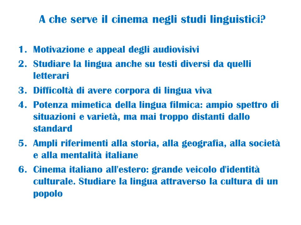 A che serve il cinema negli studi linguistici