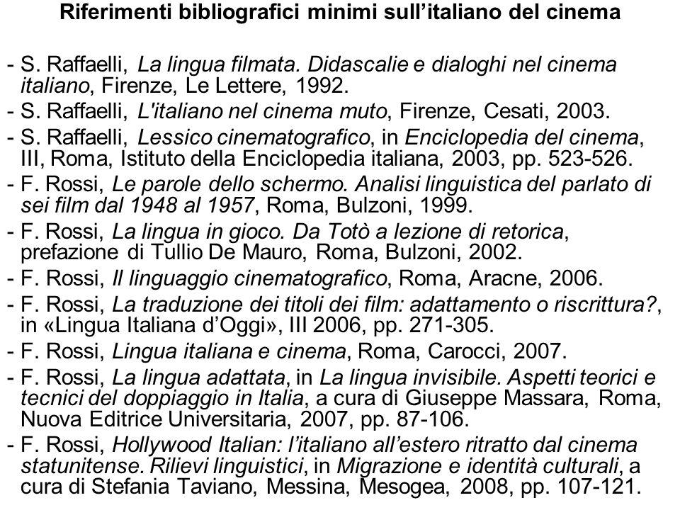 Riferimenti bibliografici minimi sull'italiano del cinema