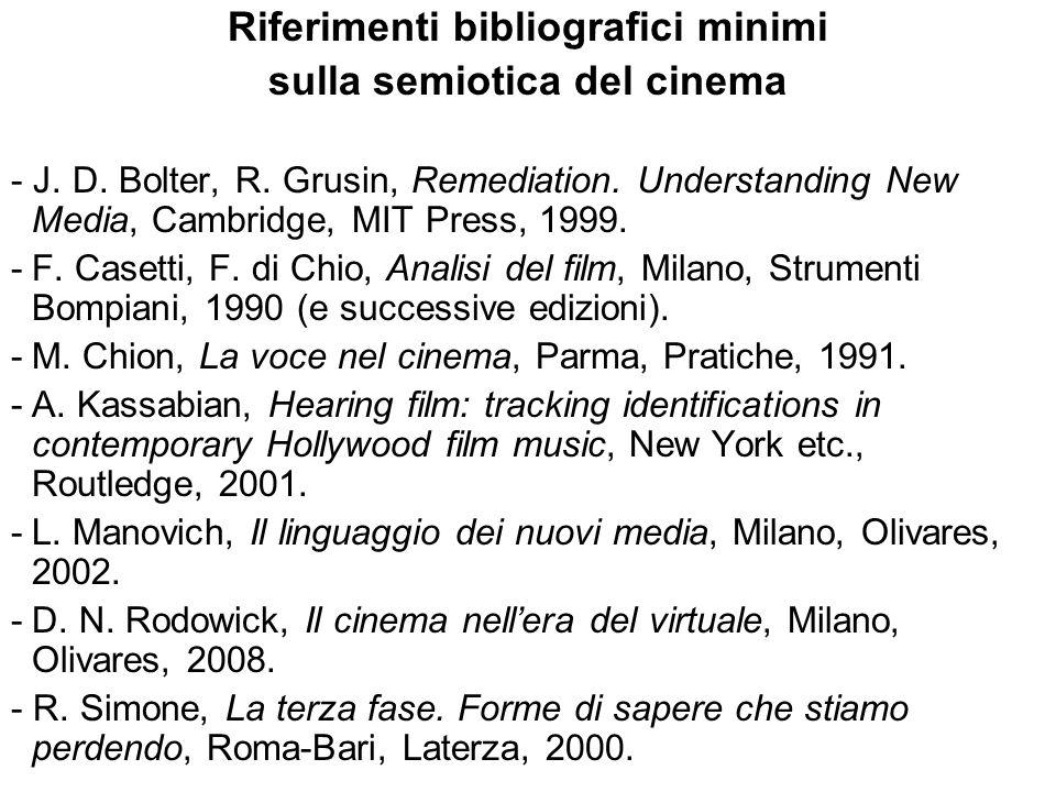 Riferimenti bibliografici minimi sulla semiotica del cinema