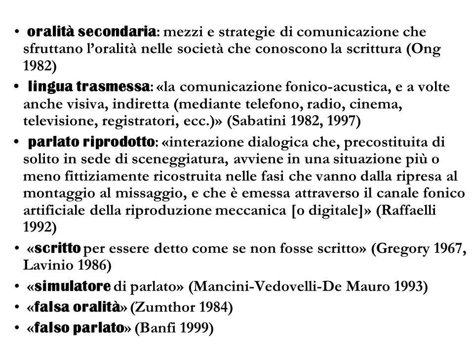 oralità secondaria: mezzi e strategie di comunicazione che sfruttano l'oralità nelle società che conoscono la scrittura (Ong 1982)