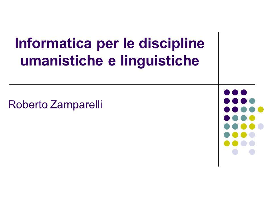 Informatica per le discipline umanistiche e linguistiche