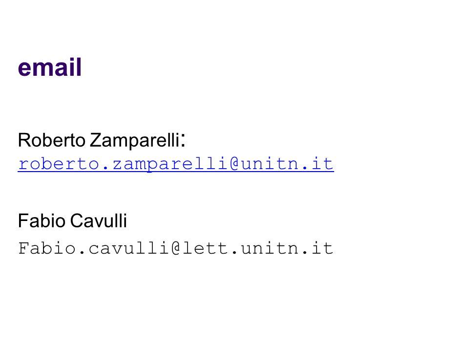 email Fabio.cavulli@lett.unitn.it