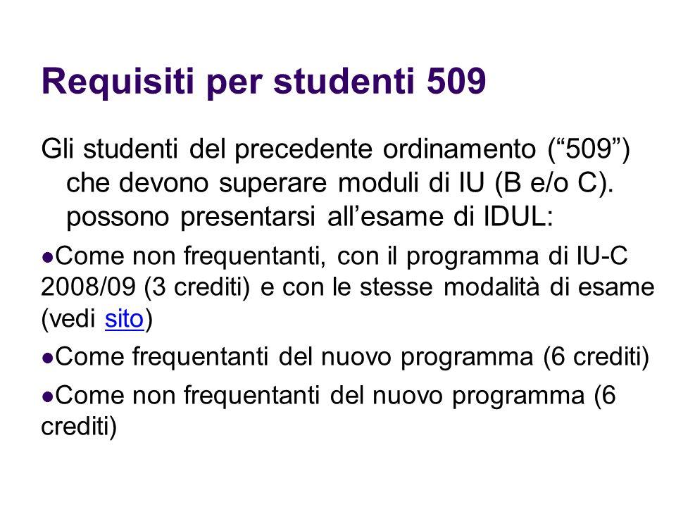 Requisiti per studenti 509