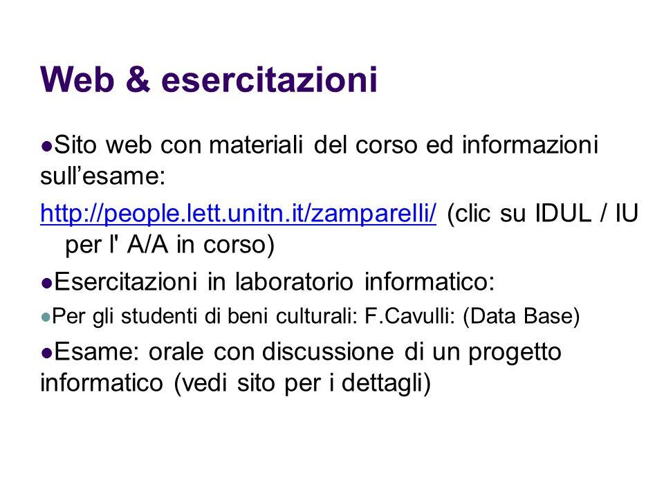 Web & esercitazioniSito web con materiali del corso ed informazioni sull'esame: