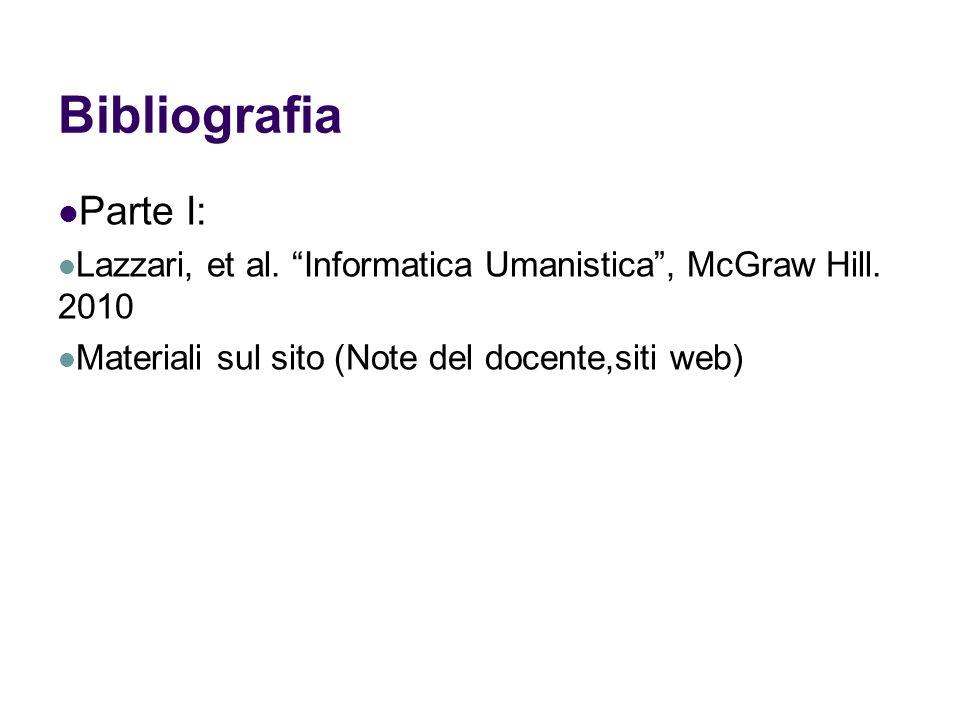 Bibliografia Parte I: Lazzari, et al. Informatica Umanistica , McGraw Hill.