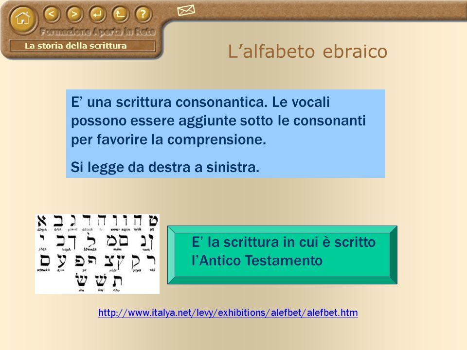 L'alfabeto ebraico E' una scrittura consonantica. Le vocali possono essere aggiunte sotto le consonanti per favorire la comprensione.