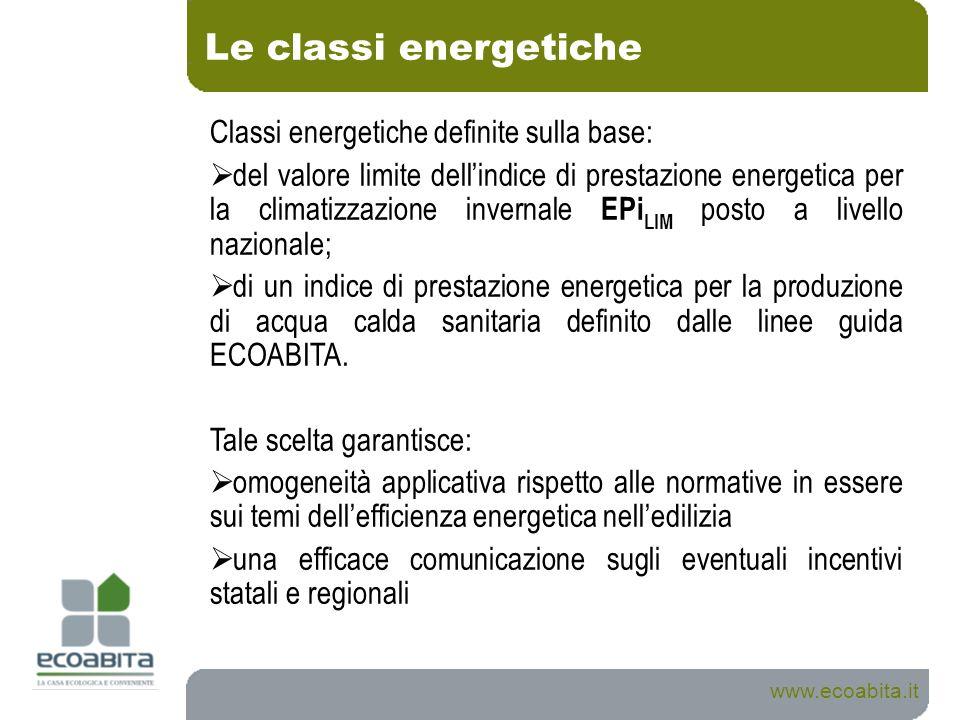 Le classi energetiche Classi energetiche definite sulla base: