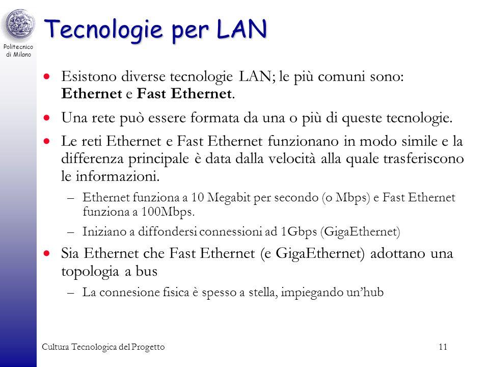 Tecnologie per LAN Esistono diverse tecnologie LAN; le più comuni sono: Ethernet e Fast Ethernet.