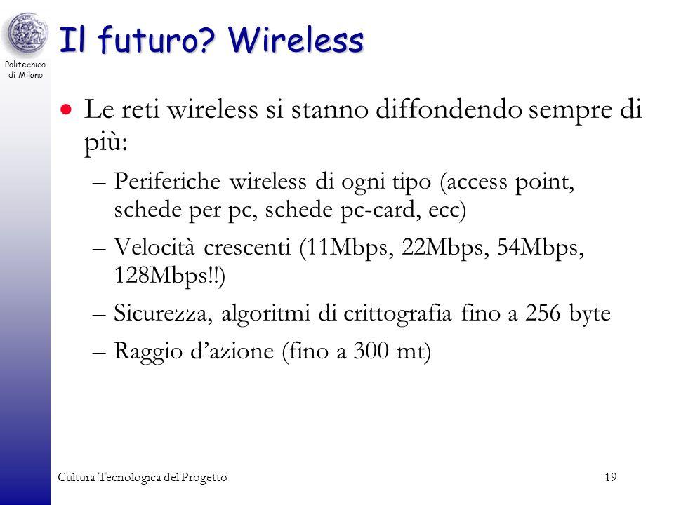 Il futuro Wireless Le reti wireless si stanno diffondendo sempre di più: