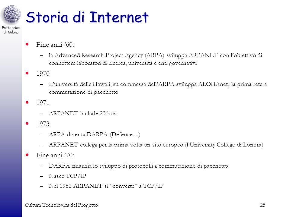 Storia di Internet Fine anni '60: 1970 1971 1973 Fine anni '70: