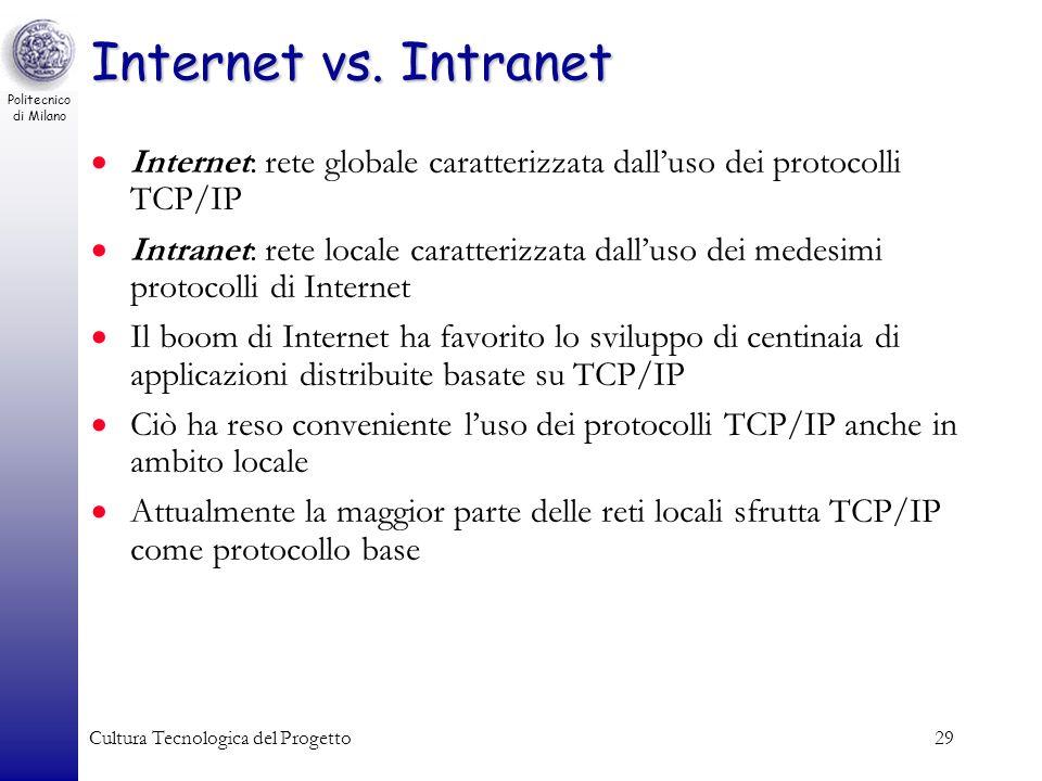 Internet vs. Intranet Internet: rete globale caratterizzata dall'uso dei protocolli TCP/IP.