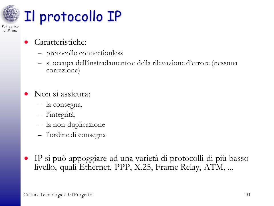 Il protocollo IP Caratteristiche: Non si assicura: