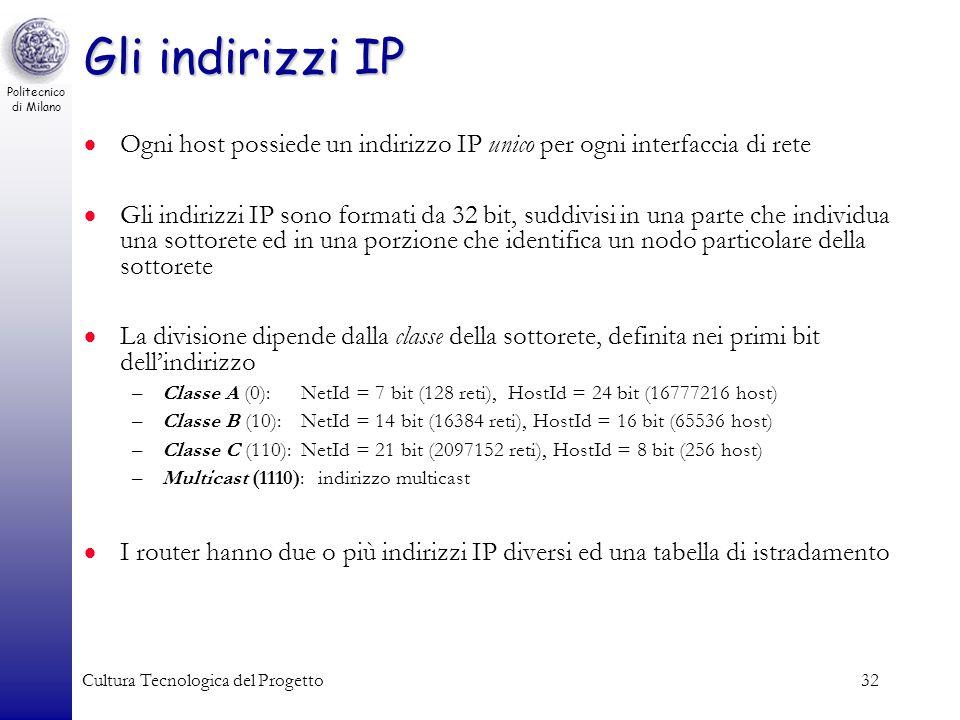 Gli indirizzi IP Ogni host possiede un indirizzo IP unico per ogni interfaccia di rete.