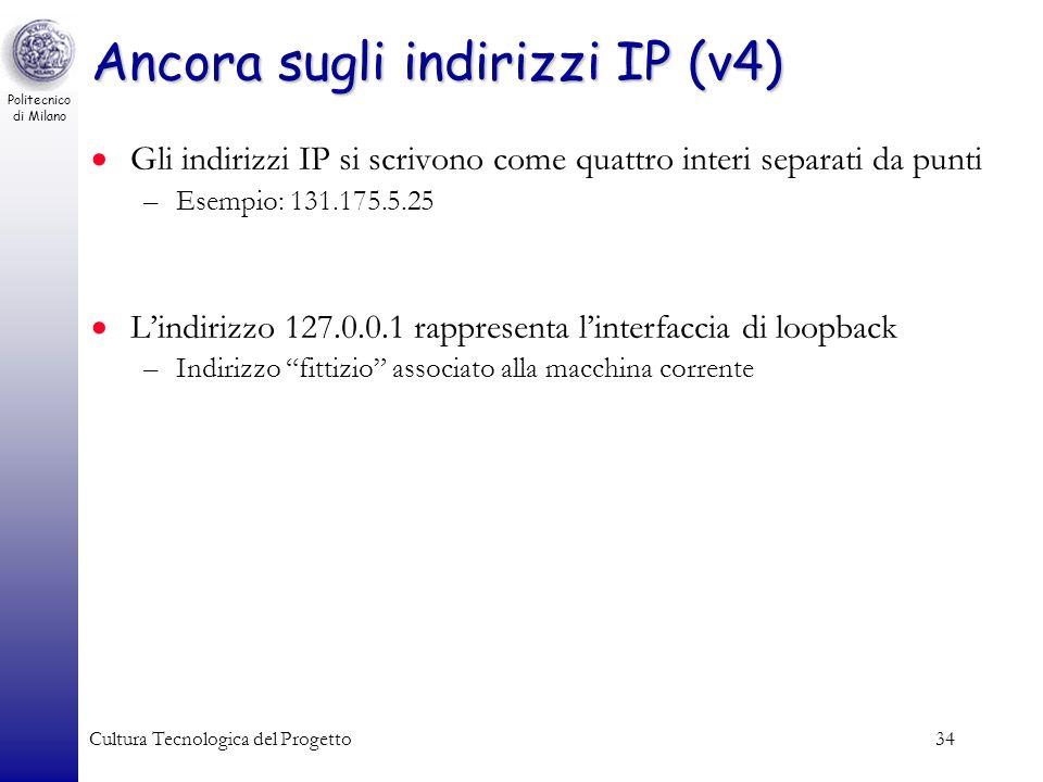 Ancora sugli indirizzi IP (v4)