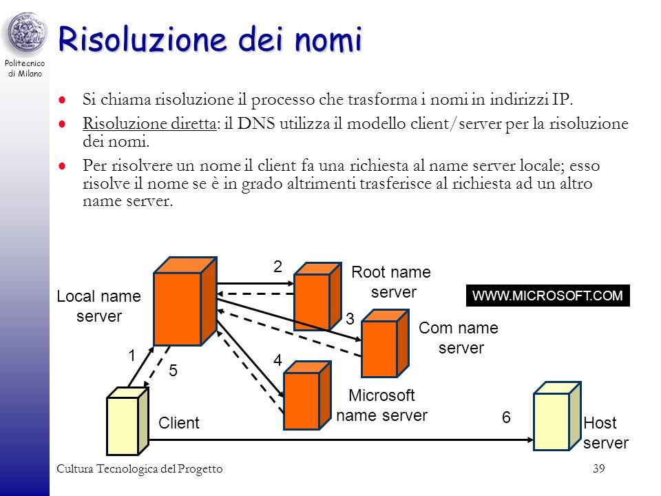 Risoluzione dei nomi Si chiama risoluzione il processo che trasforma i nomi in indirizzi IP.