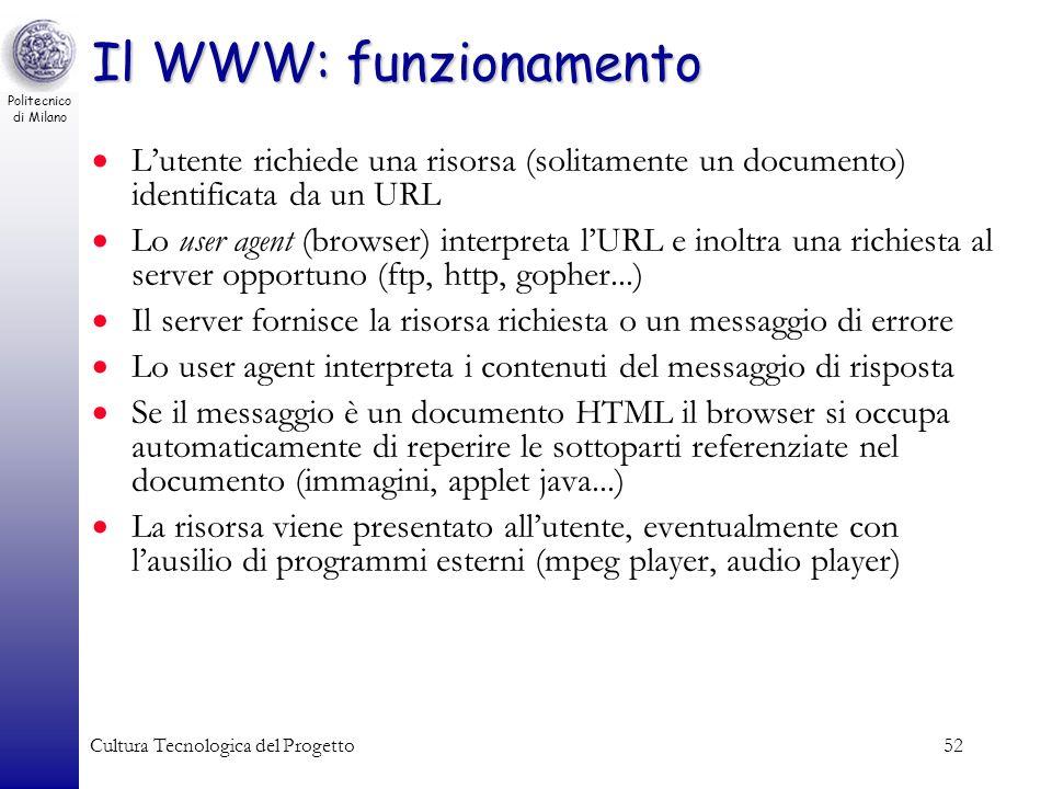 Il WWW: funzionamento L'utente richiede una risorsa (solitamente un documento) identificata da un URL.