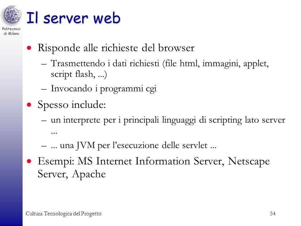 Il server web Risponde alle richieste del browser Spesso include: