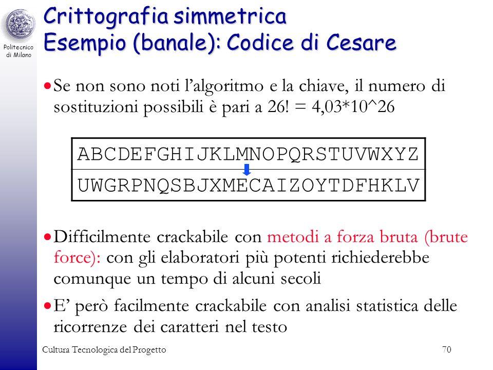 Crittografia simmetrica Esempio (banale): Codice di Cesare