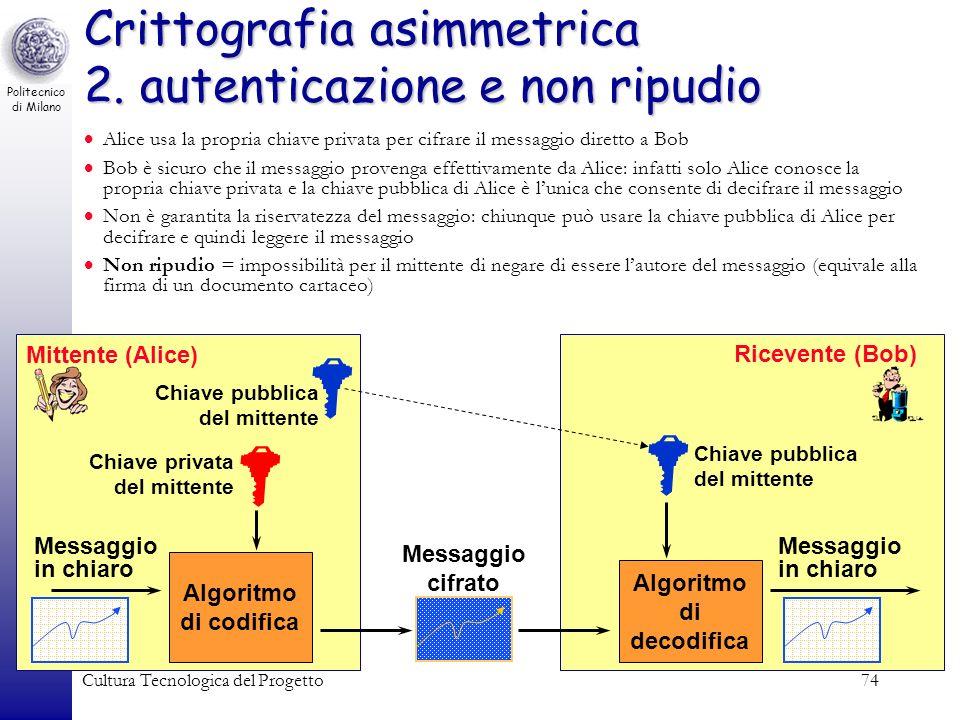 Crittografia asimmetrica 2. autenticazione e non ripudio