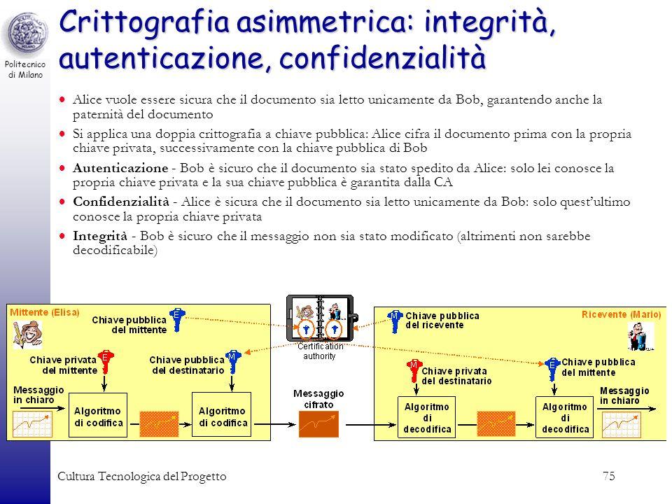Crittografia asimmetrica: integrità, autenticazione, confidenzialità
