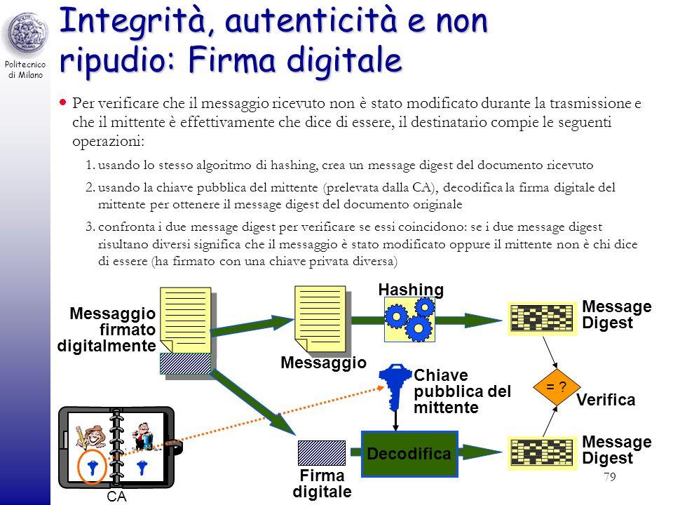 Integrità, autenticità e non ripudio: Firma digitale