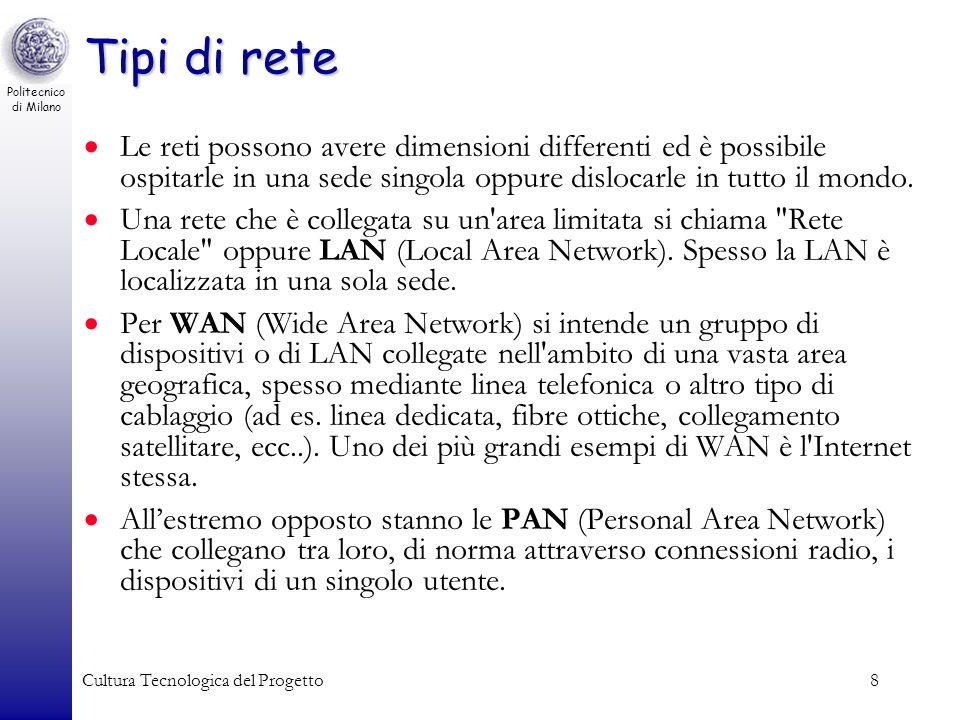 Tipi di rete Le reti possono avere dimensioni differenti ed è possibile ospitarle in una sede singola oppure dislocarle in tutto il mondo.