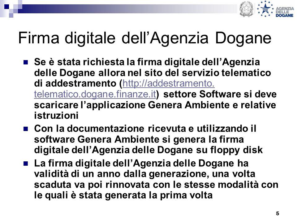 Firma digitale dell'Agenzia Dogane