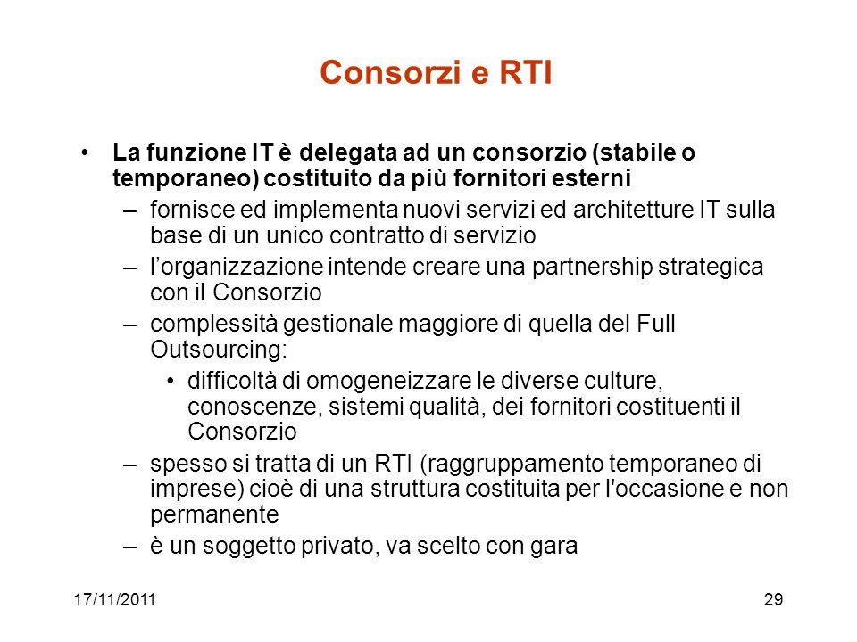 Consorzi e RTI La funzione IT è delegata ad un consorzio (stabile o temporaneo) costituito da più fornitori esterni.