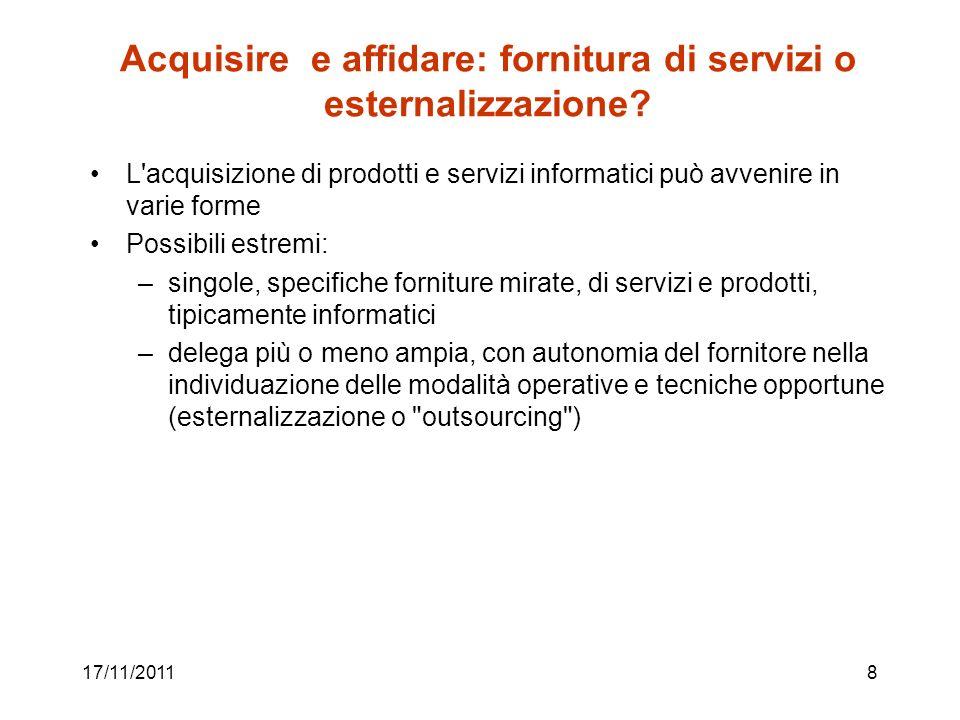 Acquisire e affidare: fornitura di servizi o esternalizzazione
