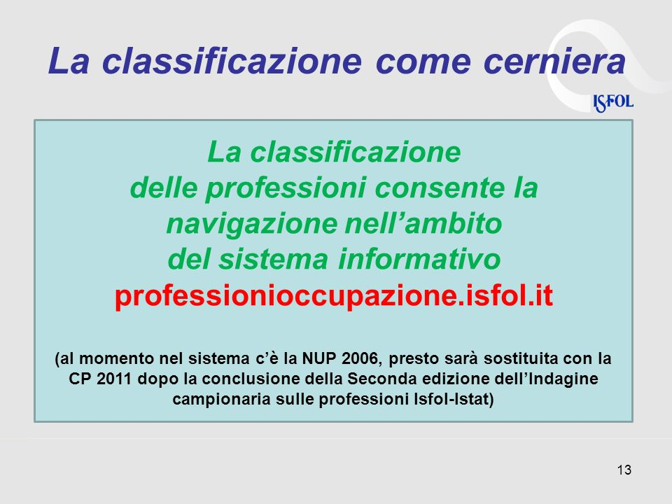 La classificazione come cerniera