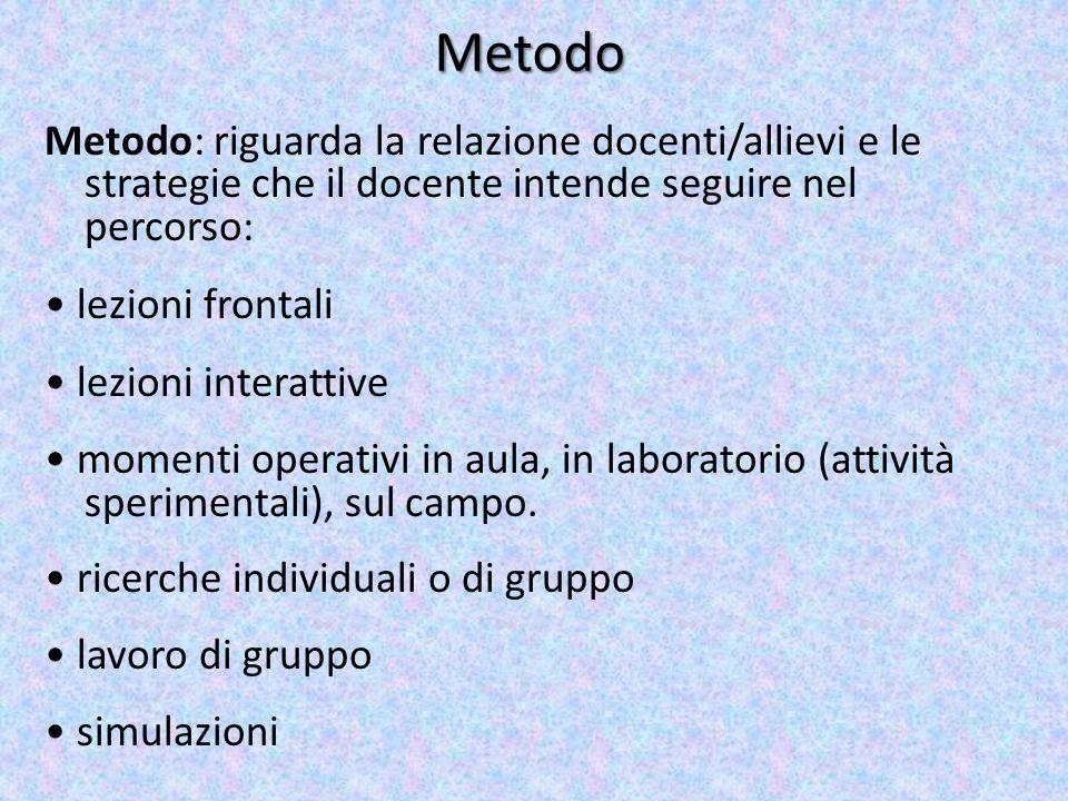 Metodo Metodo: riguarda la relazione docenti/allievi e le strategie che il docente intende seguire nel percorso: