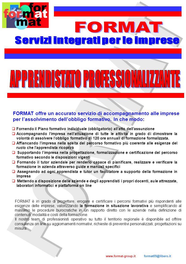 Servizi integrati per le imprese APPRENDISTATO PROFESSIONALIZZANTE