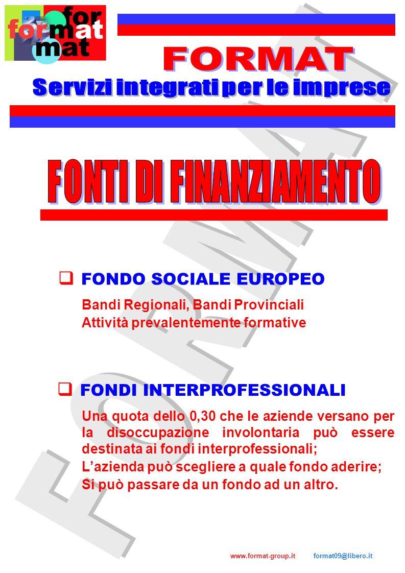 Servizi integrati per le imprese FONTI DI FINANZIAMENTO