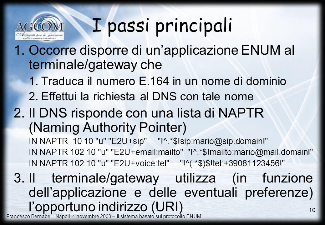 I passi principali Occorre disporre di un'applicazione ENUM al terminale/gateway che. Traduca il numero E.164 in un nome di dominio.