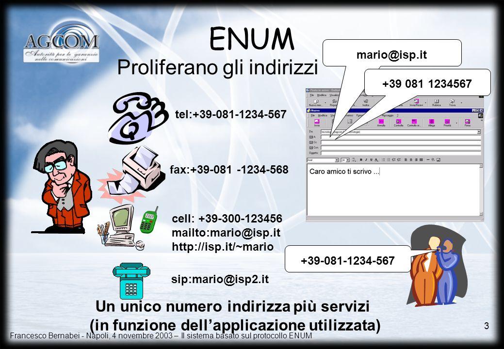 ENUM Proliferano gli indirizzi Un unico numero indirizza più servizi