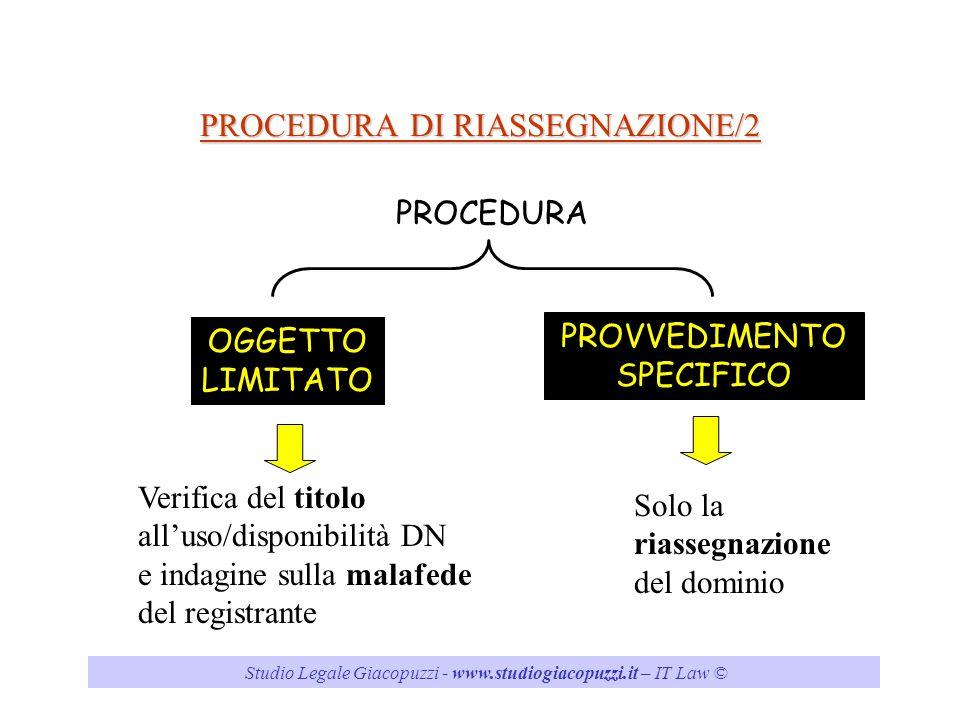 PROCEDURA DI RIASSEGNAZIONE/2