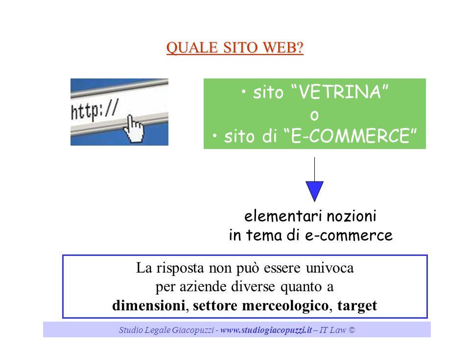 sito VETRINA o sito di E-COMMERCE QUALE SITO WEB
