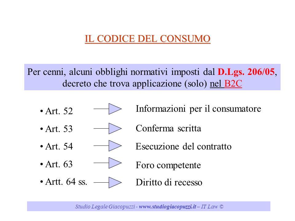 IL CODICE DEL CONSUMO Per cenni, alcuni obblighi normativi imposti dal D.Lgs. 206/05, decreto che trova applicazione (solo) nel B2C.