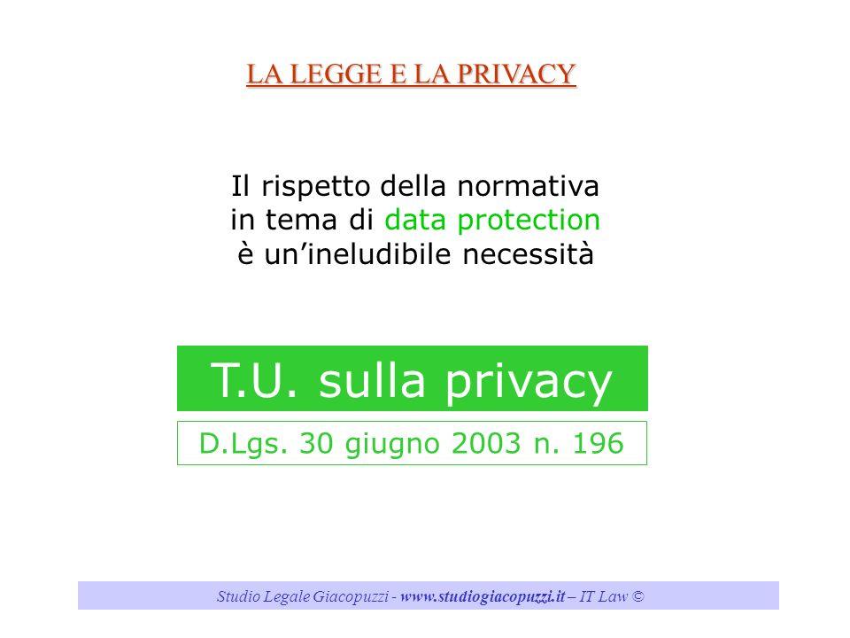 T.U. sulla privacy LA LEGGE E LA PRIVACY Il rispetto della normativa