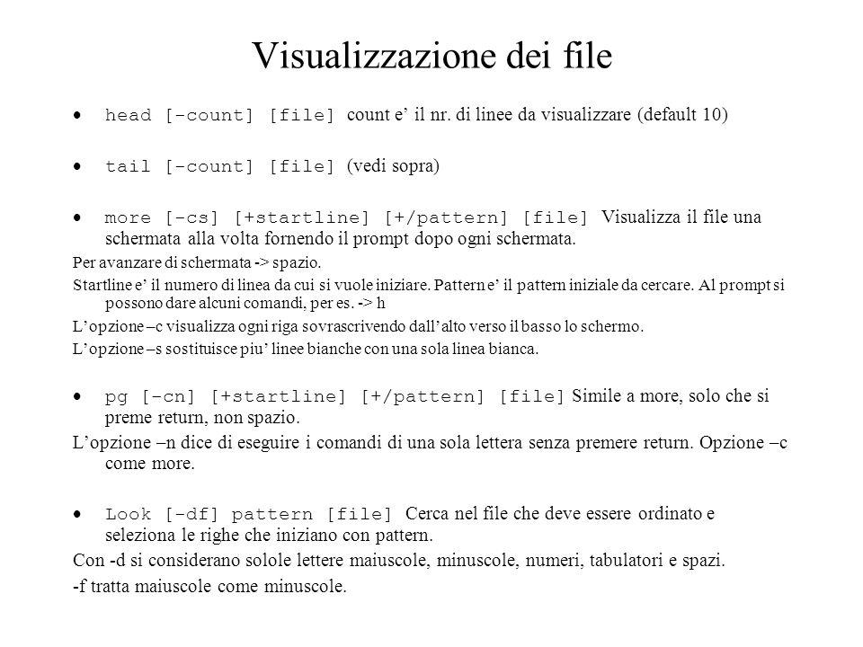 Visualizzazione dei file