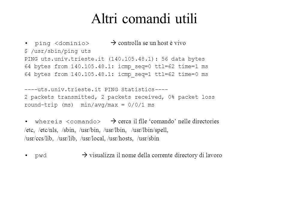 Altri comandi utili ping <dominio>  controlla se un host è vivo